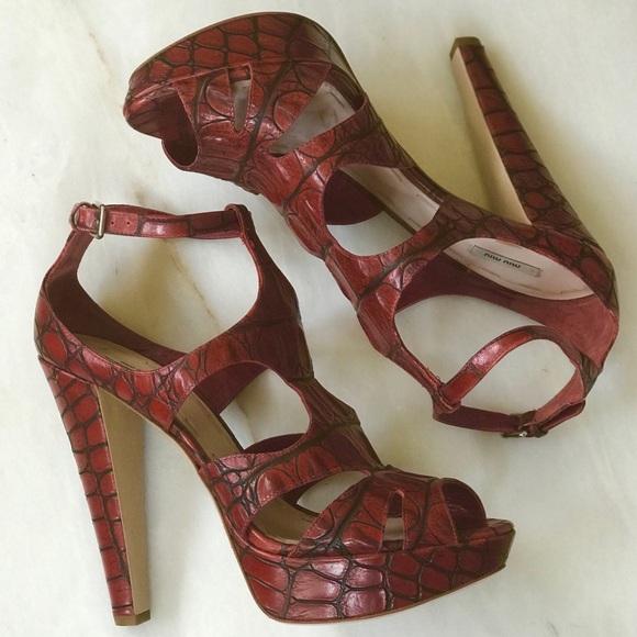 fff5b3ed003a5 Prada Shoes | Miu Miu Crocembossed Cage Platform Sandal 40 Nwot ...